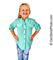 Happy funny girl kid on isolated.