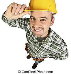happy funny young handyman isolated on white background