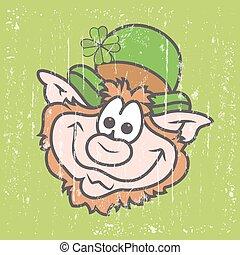 Happy Funny Leprechaun Cartoon Face