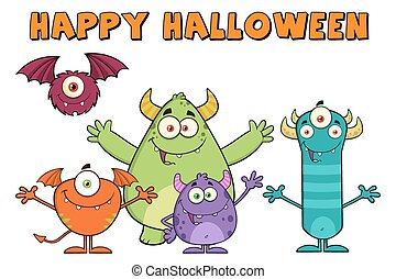 Happy Funny Monsters Characters