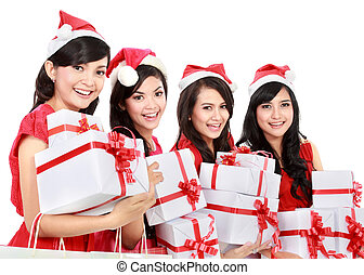 Happy funny people with christmas santa hat holding gift boxes