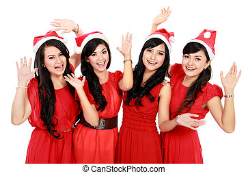Happy funny people with christmas santa hat