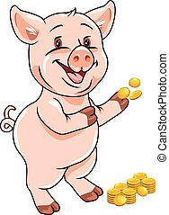 Happy funny piggy with coins