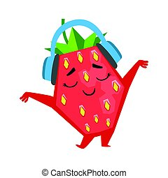 Happy funny strawberry dancing and listening to music in headphones. Cute cartoon emoji character vector Illustration