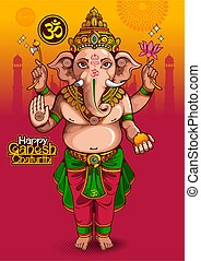 Happy Ganesh Chaturthi of india for traditional Hindu festival, background cartoon template.