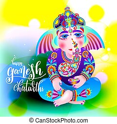 happy ganesh chaturthi beautiful greeting card or poster for...
