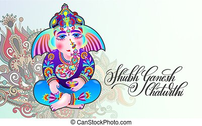 happy ganesh chaturthi beautiful greeting card - shubh...