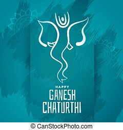 happy ganesh chaturthi blue festival poster design