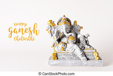 Happy Ganesh Chaturthi festival, Lord Ganesha statue with beautiful texture on white background, Ganesh is hindu god of Success.