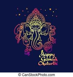 Happy Ganesh Chaturthi. Hindu God Ganesha. Vector.