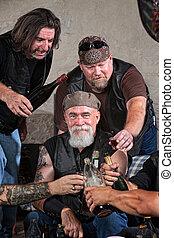 Happy Gang Members with Alcohol - Smiling gang members...