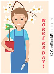 Happy Gardener with Plant on Card for Workers Day