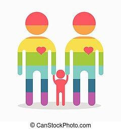 happy gay boy family rainbow icon
