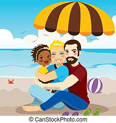 Happy Gay Family - Happy gay couple family enjoying a day on...
