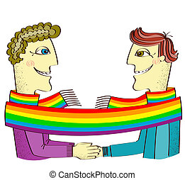 happy gays couple with hands together. Vector cartoons illustration isolated on white