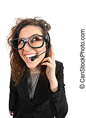Happy geek telephone operator woman attending a call