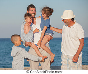 Happy Generations Family Sea Father Kids Grandfather