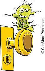 Happy Germ - A happy, cartoon germ waits on a doorknob to...