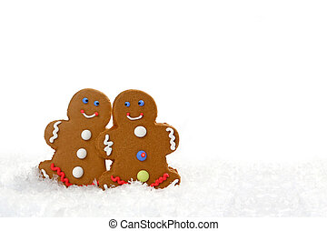 Gingerbread Couple Looking at Eachother in Love