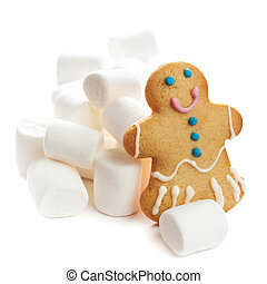 HAPPY gingerbread man cookie with marshmallows isolated over white background.