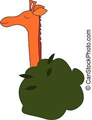 Happy giraffe in the tree