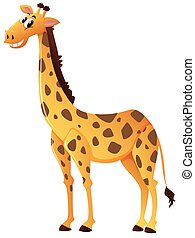 Happy giraffe on white background