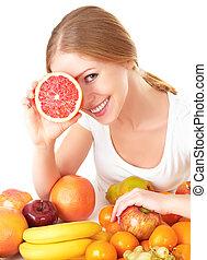 happy girl and healthy vegetarian food, fruit