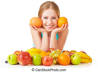 happy girl and healthy vegetarian food, fruit Isolated on white background