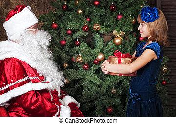 happy girl and Santa Claus