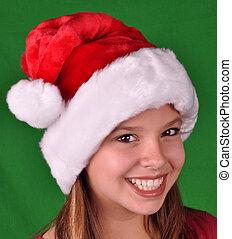 Happy girl at christmas time
