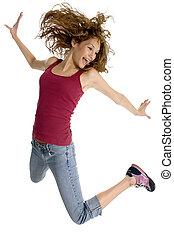 Happy Girl - Beautiful teen girl jumping.