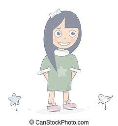 Happy girl character. Cartoon style.