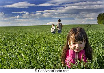 Children in grass