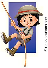 Happy girl climbing rope