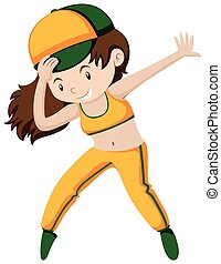 Happy girl doing breakdancing illustration