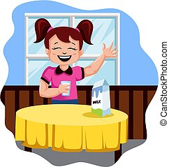 Happy girl drinking milk illustration vector on white background