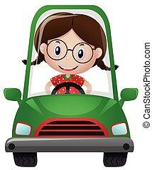Happy girl driving green car