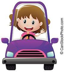 Happy girl driving in purple car