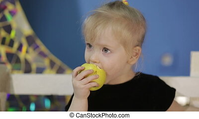 Happy Girl eating apple