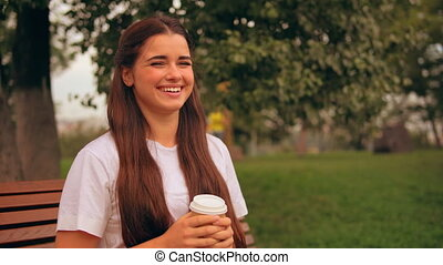 happy girl enjoy break outdoors