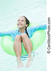 Happy Girl Enjoying in Water