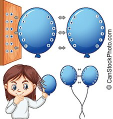 Happy girl experimenting electrostatic with balloon