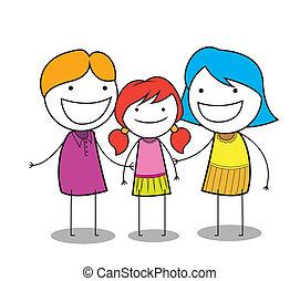 happy girl family
