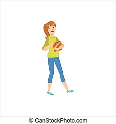 Happy Girl Going To The Cinema With Paper Popcorn Bag, Part Of Women Different Lifestyles Collection