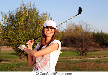 happy girl golf player portrait
