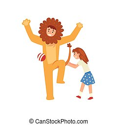 Happy Girl Having Fun with Animator in Lion Costume at Birthday Party, Entertainer in Festive Costume Performing Before Kid Vector Illustration
