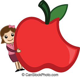 Happy Girl Hiding Behind Apple