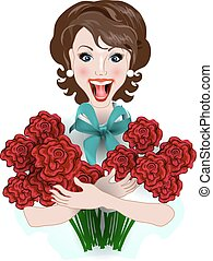 happy girl holding a bouquet of flowers