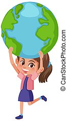 Happy girl holding the earth on white background