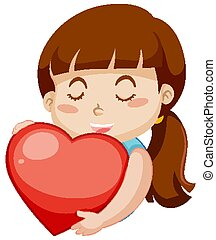 Happy girl hugging big red heart on white background